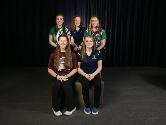 2018 All-Shore girls bowling. Front row: Natalie Swindell of Toms River High School South, l, Kamerin Peters, Toms River High School North. Back row: Morgan Gitlitz, Colts Neck High School, l,  Liz Schreier, Lacey Twp. High School, Amanda Shelters, Brick Memorial.  March 15, 2018. Neptune, NJ.