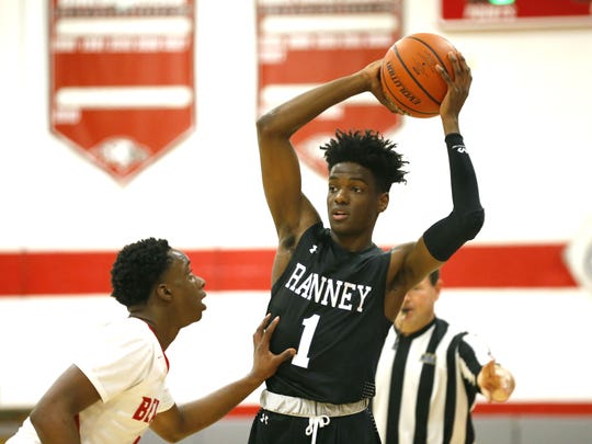 Bryan Antoine (1) of Ranney handles the ball against Point Pleasant Beach in January.