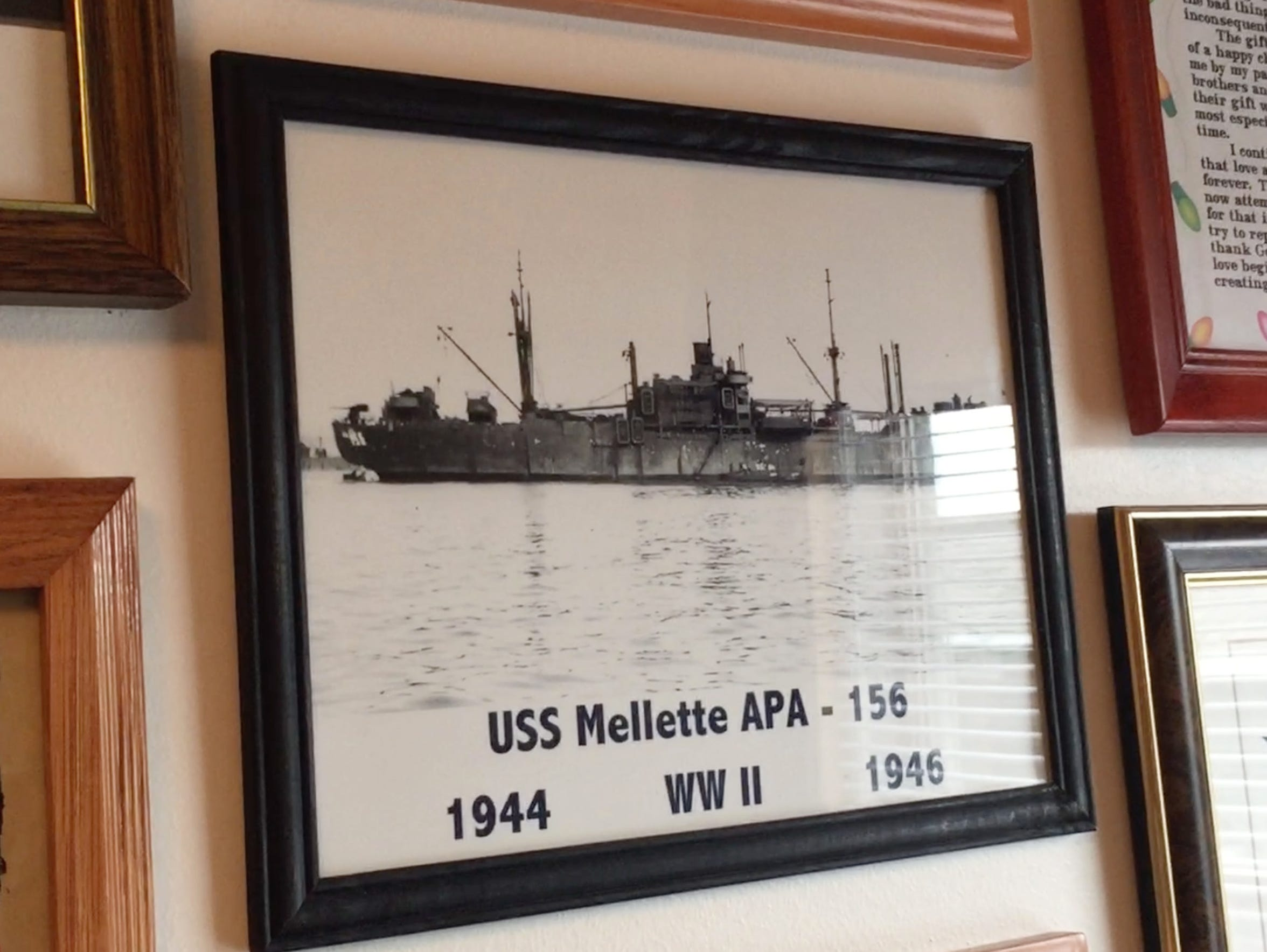 Hanging in James Reardon's home is a photo of the USS