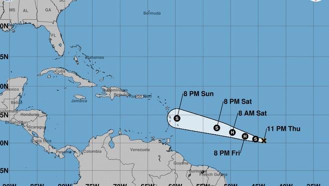 Tropical Storm Beryl's 11 p.m. update Thursday, July 5, 2018.