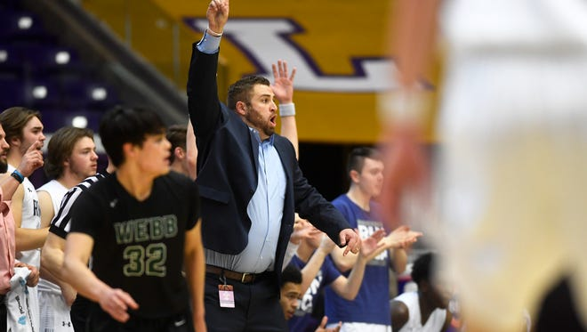 Grace Christian head coach Brandon Clifford yells to players on the court during a Division II-A boys basketball championship game at Lipscomb University Saturday, March, 3, 2018. Grace overcame Webb 46-44 in the final minutes of the game.