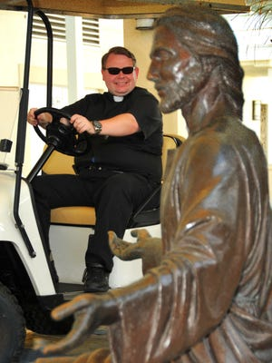 Father Jeremiah Payne, an associate pastor at Holy Name of Jesus Catholic Church, rides his golf cart that he named Shadowfax after Gandalf's horse in the Lord of the Rings trilogy. It is a common site to see Father Payne riding around the large grounds of the church and school.