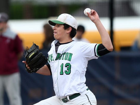 Irvington's Evan Panjwani pitching against Albertus Magnus during playoff action at Mercy College in Dobbs Ferry May 18, 2018.