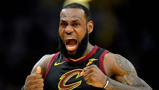 Cleveland Cavaliers forward LeBron James reacts after a play against the Boston Celtics in Game 6.