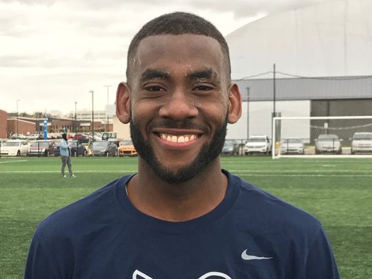 Midfielder Hakeem Sadler of Schoolcraft College was