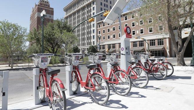 A bike rack at San Jacinto Plaza has bikes for rent as part of El Paso's bike share program.