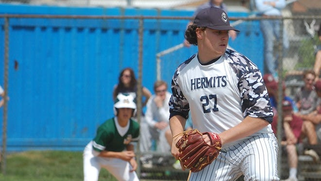 St. Augustine senior Kris Morgenweck tossed a three-hitter with eight strikeouts to defeat Camden Catholic in the first round of the 43rd Joe Hartmann Diamond Classic on Saturday.