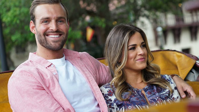 Robby Hayes, left, and JoJo Fletcher, take a carriage ride through St. Augustine in Episode 8 of The Bachelorette.