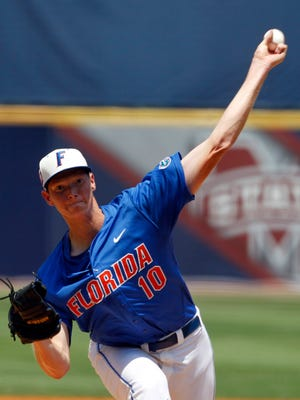 Florida's A.J. Puk, seen here pitching against South Carolina in 2014, has gone 7-3 with 68 strikeouts this year. Puk, a standout at Cedar Rapids Washington, struck out a career-high 12 hitters on May 9.