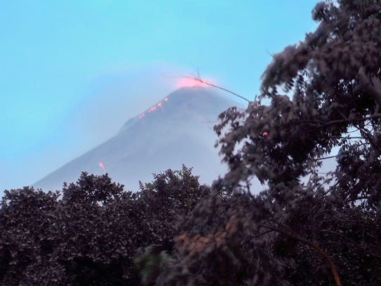 The Fuego Volcano, as seen from Los Lotes, Rodeo, erupts