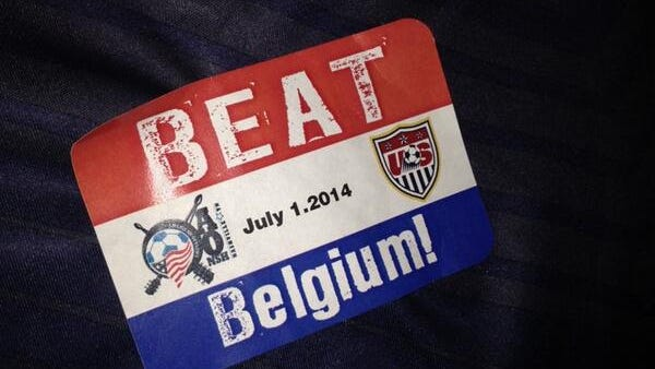 A sticker is supported by a Team USA soccer fan Tuesday in Nashville.