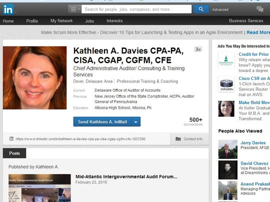A screenshot of the LinkedIn page for Kathleen Davies,
