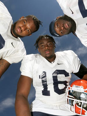 UTEP linebackers Alvin Jones, center, Dante Lovilotte, left, and Jamar Smith are three reasons for the optimism on the defense for the UTEP football team.