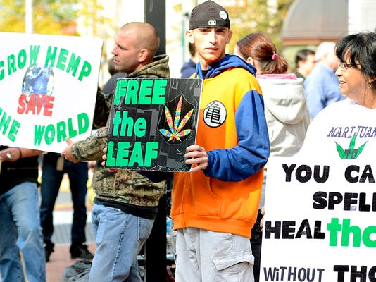Supporters gather during York Hemp Freedom Rally at Continental Square in York, Pa. on Saturday, Oct. 24, 2015. Dawn J. Sagert - dsagert@yorkdispatch.com