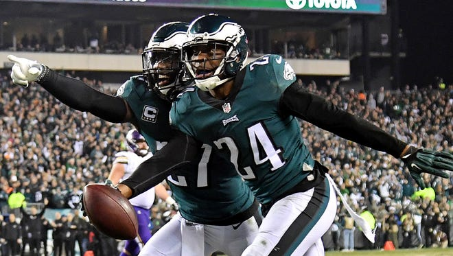 Philadelphia Eagles defensive back Corey Graham (24) celebrates after an interception during the fourth quarter against the Minnesota Vikings in the NFC Championship game at Lincoln Financial Field.