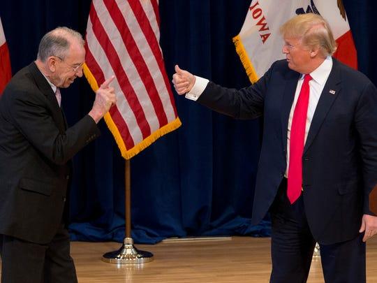 President Donald Trump meets with U.S. Sen. Chuck Grassley, R-Iowa, in 2016.