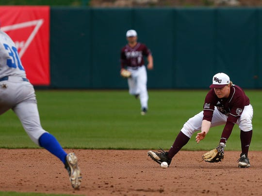 Missouri State Bears infielder Aaron Meyer (8) collects