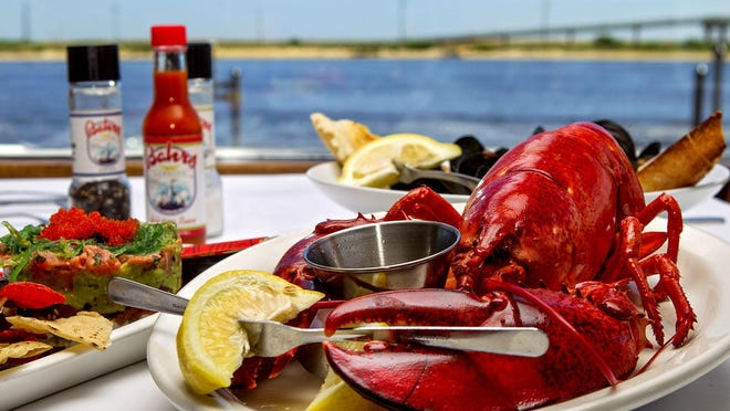 A steamed lobster dinner at Bahrs Landing in Highlands.