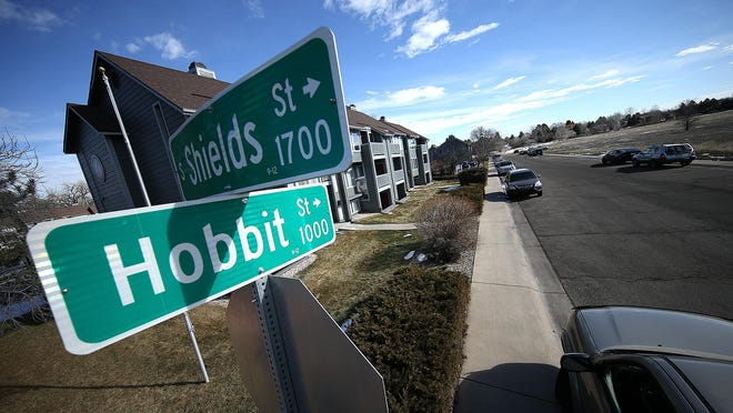 The street sign at the corner of Fort Collins' Hobbit and Shields streets. Blue Ocean Enterprises plans a 300-plus multifamily development just south of the intersection.