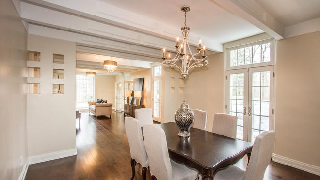 The dining room of this home is made for entertainment.