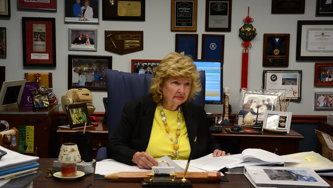 Collier County Commissioner Donna Fiala in her office. Fiala has represented East Naples on the commission since the year 2000. (Lance Shearer/Eagle Correspondent)