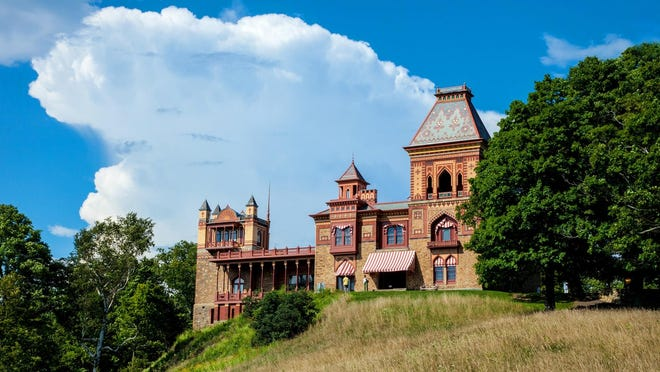 View of the Main House at Olana from the Olana Summer House location.