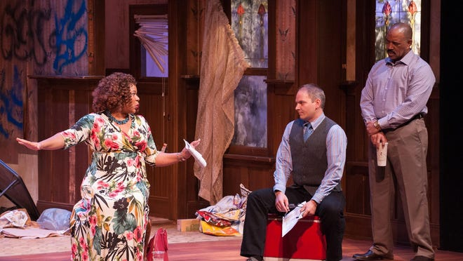"""Jasmine Bracey (Lena), Mic Mattarese (Tom), and Hassan El-Amin (Kevin) perform in the University of Delaware REP's production of """"Clybourne Park."""""""