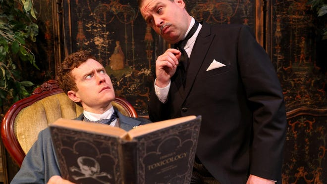 """Lord Arthur, played by Matt Holzfiend, left, and Baines (Karl Hamilton) discuss murder plots in a scene from last year's production of """"Lord Arthur Savile's Crime"""" at Peninsula Players Theatre. The company announced it was awarded a Wisconsin Arts Board competitive grant."""