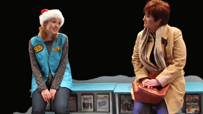"""Jen (Jamie Lien) and Carol (Sandra Birch) in the World Premiere of """"New Releases"""" by Joseph Zettelmaier at the Williamston Theatre."""