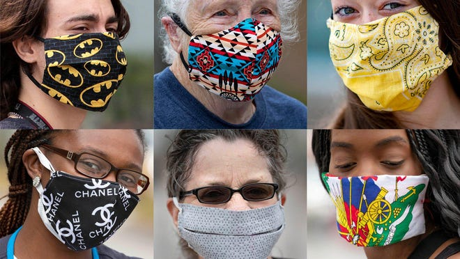 Walmart customers and employees wear masks after the county issued an order strongly urging all persons in public places wear distancing is difficult to wear facial coveringso help slow the spread of COVID-19.