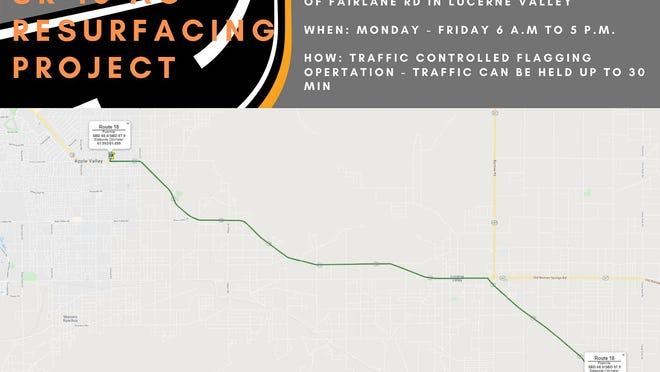 Road crews will begin a resurfacing project on State Route 18 on Monday, July 27, 2020, that will extend some 20 miles from Apple Valley to Lucerne Valley.