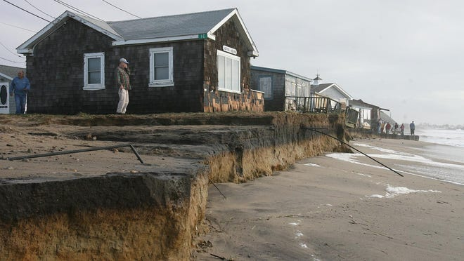 Beach erosion along Roy Carpenter's Beach in South Kingstown from superstorm Sandy in October 2012. [The Providence Journal file/ Kathy Borchers
