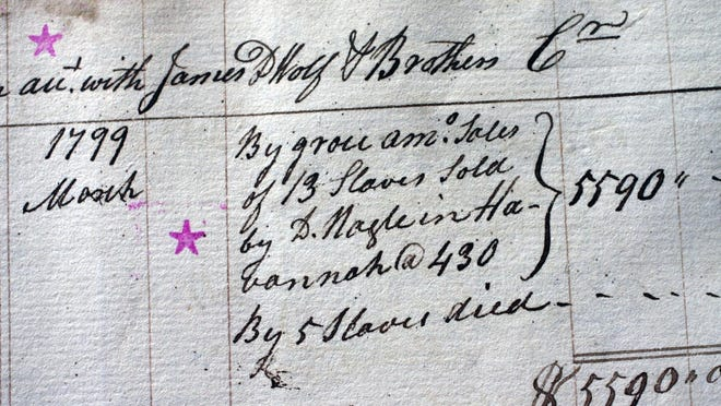 "A waterfront store ledger at the Bristol Historical Society details the sale of 13 slaves in ""Havannah"" by James DeWolf."