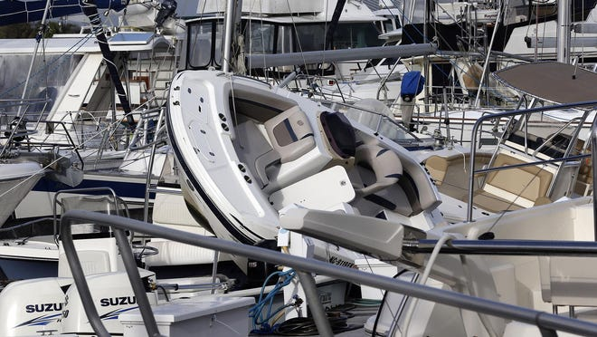 Boats are piled on top of each other at the Southport Marina after Hurricane Isaias hit Southport, North Carolina, on Tuesday.