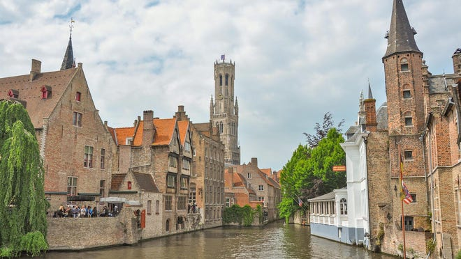 The serene side of Bruges from a canal-boat tour.