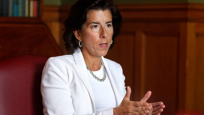 Gov. Gina Raimondo speaks with Journal reporters Brian Amaral and Patrick Anderson on Thursday.