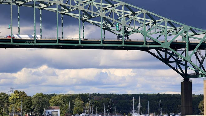 The Piscataqua River Bridge connects Portsmouth, New Hampshire, and Kittery, Maine, on Interstate 95.