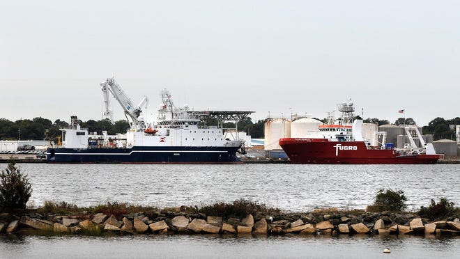The Stril Explorer and the Fugro Brasilis, tied up at the Port of Providence on Tuesday.