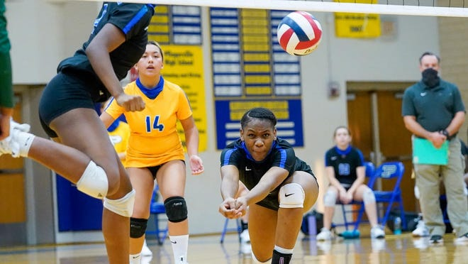 Pflugerville's Taniah Jackson attempts to return the ball against Connally in their District 18-5A opener Sept. 29 at Pflugerville High School. Connally beat the Panthers 25-23, 25-18, 22-25, 25-17.