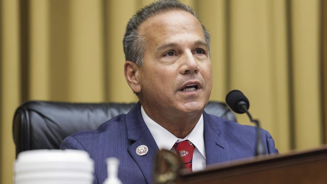 Rep. David Cicilline, D-R.I., aggressively questions Big Tech executives during a July 29 hearing before the House Judiciary Committee's antitrust subcommittee.