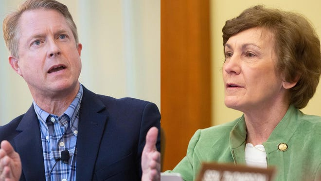 GOP Congressman Roger Marshall, left, holds a narrow lead over Democratic state Sen. Barbara Bollier in Kansas' U.S. Senate race, according to a new poll released Thursday.