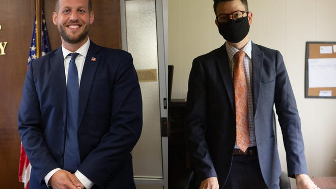 Incumbent Mike Kagay, left, faces Joshua Luttrell, right, in the race for Shawnee County district attorney. Both say they want a safer community, but they disagree on how to get there.