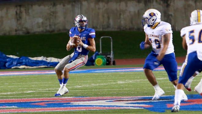 Westlake (Austin, Texas) quarterback Cade Klubnik drops to throw a pass in a game earlier this season.