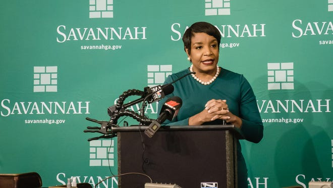 Alberwoman Kesha Gibson-Carter speaks during a press conference at Savannah City Hall. Several of her fellow council members filed an ethics complaint against her.