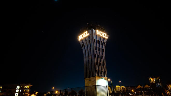 The Mueller tower gets its annual holiday makeover on Saturday.