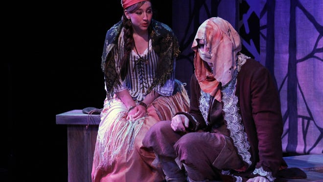 "Alysia Kolascz and Alex Leydenfrost in Joseph Zettelmaier's ""The Gravedigger, a Frankenstein Story"" at the Williamston Theatre."