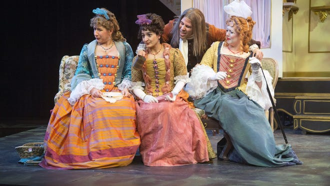 """From left: Sarah Hawkins Moan, Annie Keris, Santino Craven and Bevin Bell-Hall in Hilberry Theatre's production of """"The Way of the World."""""""
