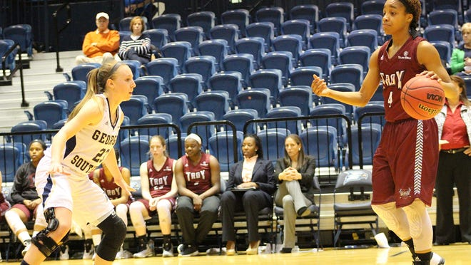 Troy's Ashley Beverly-Kelley scores 46 points against Georgia Southern on Thursday.