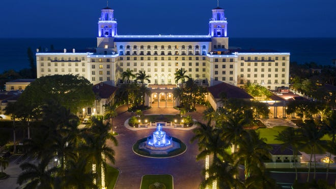 The Breakers lights up blue on April 19 in honor of first responders and front line workers during the COVID-19 pandemic. The illumination of the iconic twin Belvedere Towers and Florentine Fountain are part of the #LightItBlue campaign in Palm Beach.