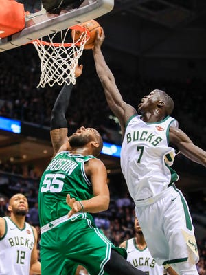 Thon Maker (right) helped lead a strong defensive effort by the Bucks on Friday night.